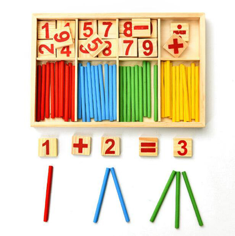 Colorful Bamboo Counting Sticks Clock Toy Mathematics Montessori Teaching Aids Counting Rod Kids Preschool Math Learning Toy GYH 4