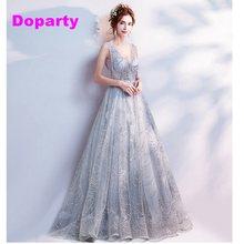 6bd862e897 Doparty XS2 gris rebordear partido formal elegante vestido de noche largo  Madre de la novia vestidos para las mujeres 2018