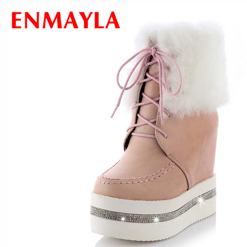 ENMAYER  Warm Snow Boots Shoes New Round Toe Lace-Up Fashion High winter women shoes quality soft leather round toe ankle boots
