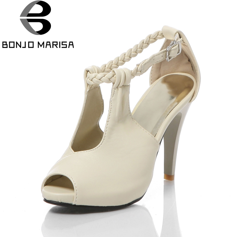 BONJOMARISA 2018 Fashion Big Size 34-43 Ankle Strap Women Sandals Woman Thin high-heeled Peep Toe Party Wedding Sandals