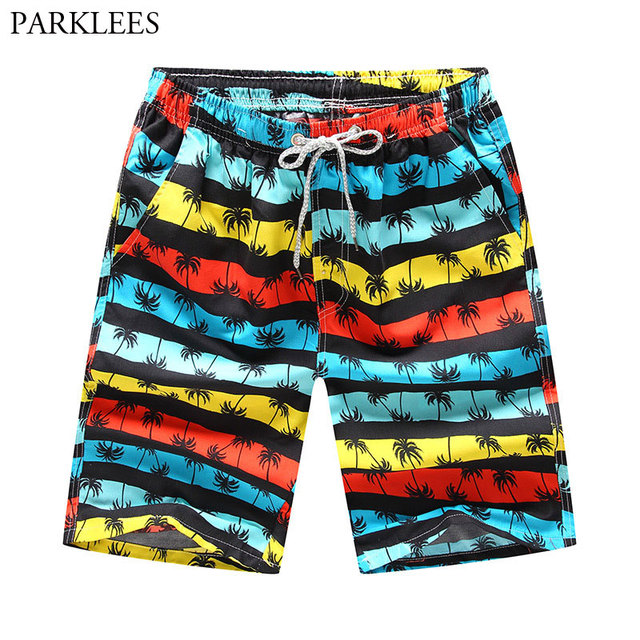 2d8cb0d7ee Striped Beach Shorts Men Palm Tree 3D Print Boardshorts 2018 Summer New  Quick Dry Beach Trunks Mens Casual Pocket Beach Wear 4XL