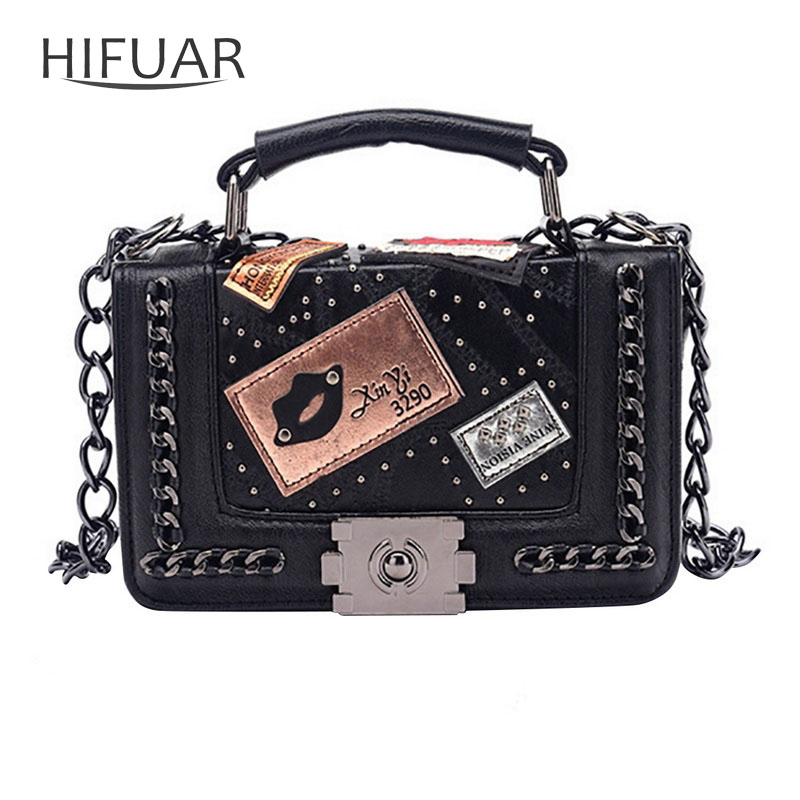 Square Bag Handbag Flaps Messenger-Bag Rivets-Lock-Chain Embroidery Small Female Women