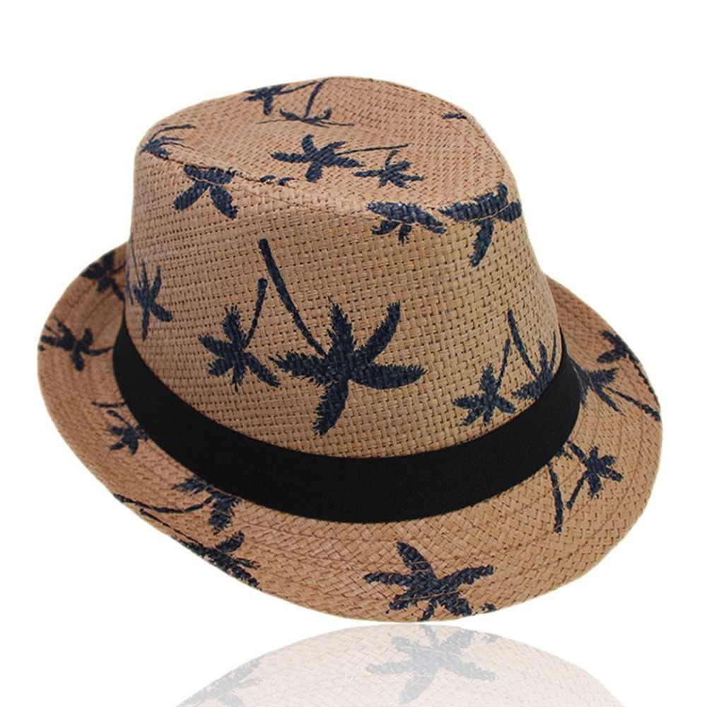 מבוגרים ילדים קיץ קש Weave שמש ההורה לילד טרופי קוקוס עץ מודפס קצר מתולתל שולי רטרו ג 'אז דלי כובע רחב כובע
