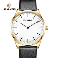 STARKING גברים שעון זהב שעוני יד קוורץ צפה סין מותג יוקרה רצועת עור אמיתי שחור פשוט זכר שעון 3ATM עמיד למים