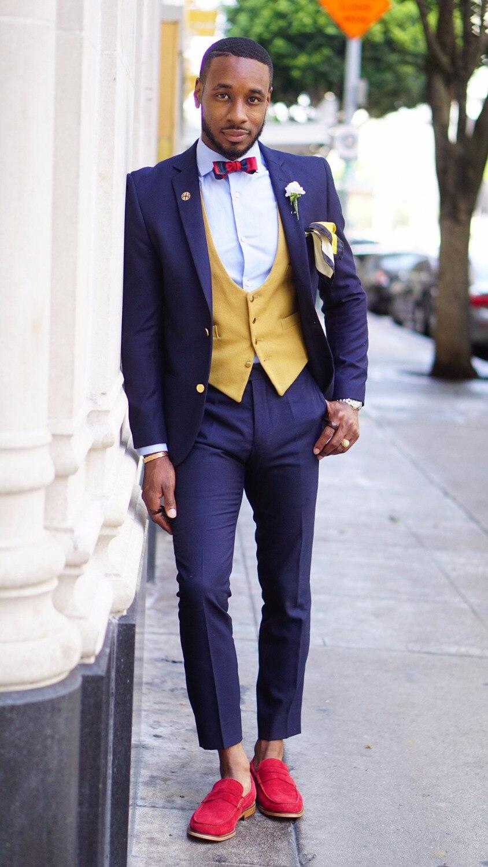 Latest Fashion Men Slim Fit Stylish Suits Purple Jacket With Yellow Vest Men Custom Prom Party Suit Trajes De Hombre Groom Suits