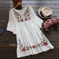 Feibushi señoras del verano elegante bordado media manga de la blusa bohemia flor de lino del algodón shirt dress plus size blusa mujer 3588