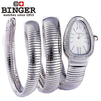 Promotion Newest Fashion Watches women Binger Snake Stainless teel Strap CZ diamond dial quartz watch Rhinestone Wristwatch