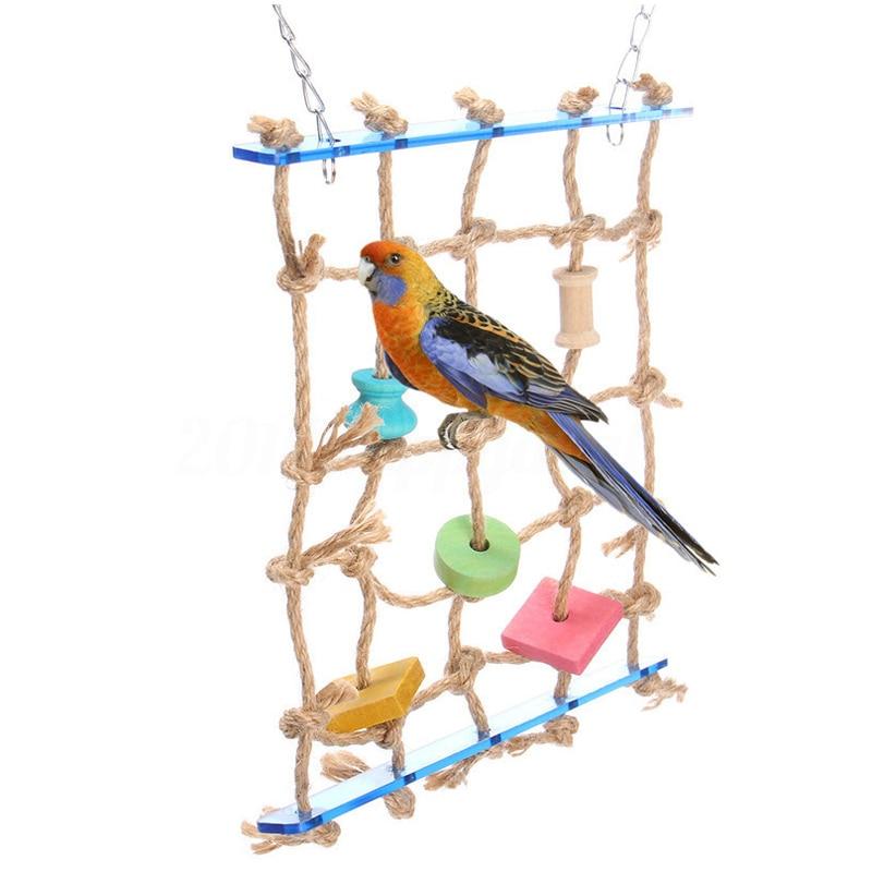 New Parrot Birds Climbing Net Jungle Rope Animals Toy Swing Ladder Chew Discounts Sale Robe Hooks