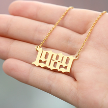 купить Personalized Old English Number Necklaces Women Custom Jewelry Custom Old English Number Necklace Stainless Steel Necklace Gold по цене 187.43 рублей