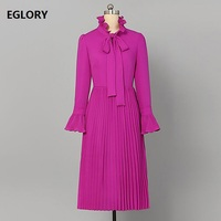 Bow Tie Elegant Autumn Dress 2018 High Quality Women Ruffled Collar Flare Long Sleeve Work Office Dress Lady Pleated Purple Dres
