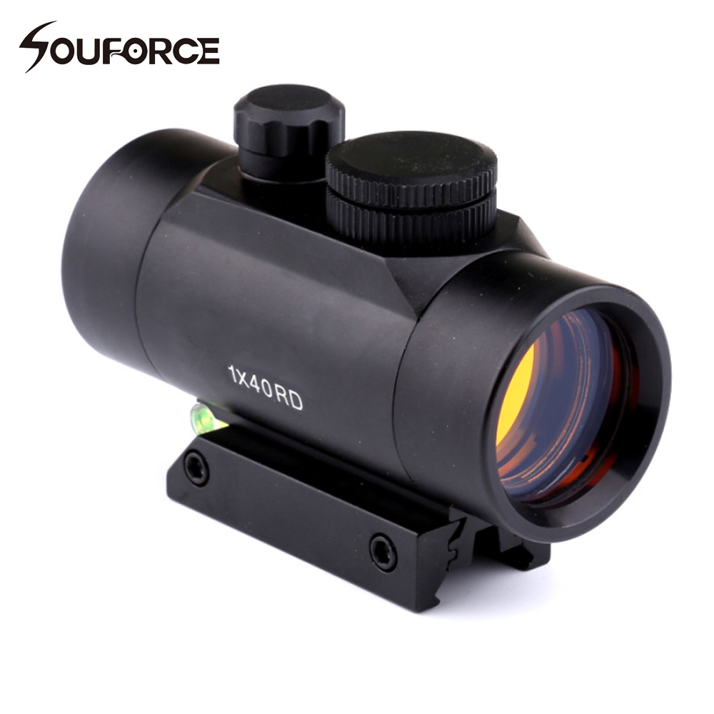 1x40 Hunting Red Dots Optical Sight Holographic Riflescopes with Spirit Bubble Level For <font><b>11mm</b></font>/20mm Rail Tactical Rifle Guns