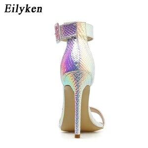 Image 4 - Eilyken Zomer Zilver Blauw Serpentine Peep Toe Hoge Hak Vrouwen Sandalen Sexy Gesp Ankle Wrap Dames Sandalen Club schoenen