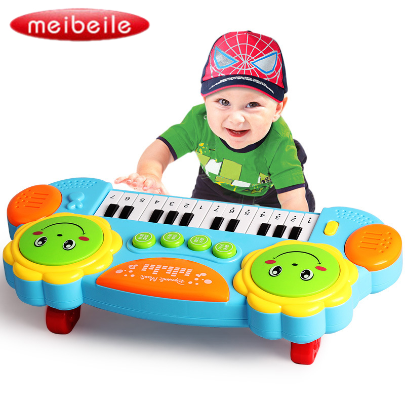14 Keys Multi-function Piano Educational Toys Music Keyboard Musical Instrument toy with Light and Hand Drum Random Color 14 inch double tone afanti music snare drum sna 109 14