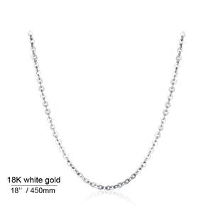 Image 3 - 本 18 18k ホワイトイエローゴールドチェーンネックレスペンダント 18 インチ au750 ジュエリーネックレス女性ギフト
