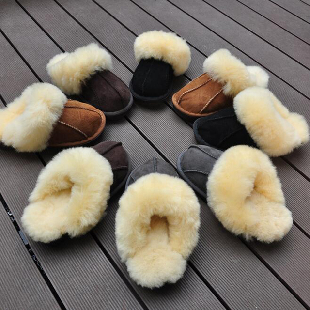 High Quality Winter Warm Home Slippers Fur one Couples Genuine Cow Leather Leisure Lamb Wool  Women Men Indoor Floor Slippers z4