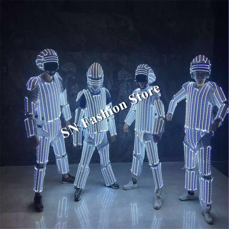 L100 Mens robot lighting costumes ballroom luminous <font><b>led</b></font> clothes glowing lighted stage wears <font><b>helmet</b></font> party bar <font><b>dj</b></font> show performance