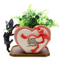 3cm DIY Miyazaki Kiki S Delivery Service Kiki Cat Rose Heart Shaped Flower Pot Action Figure