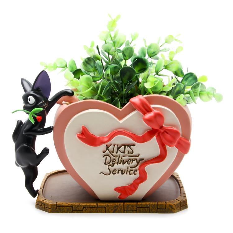3cm DIY Miyazaki Kiki's Delivery Service Kiki Cat Rose Heart Shaped Flower Pot Action Figure Toys Decoration Toys new kiki gigi bakery kiki s delivery service reconstruction animiation action figure doll house kid toy miniature diorama model