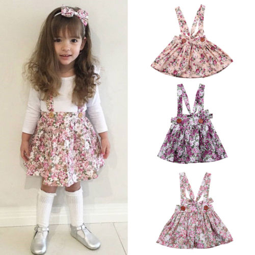 Newborn Baby Kids Girls Floral Strap Skirts Clothes Little G
