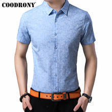 COODRONY Brand Men Shirt 2019 Summer Cool Short Sleeve Cotton Streetwear Floral Slim Fit Business Casual Shirts S96053