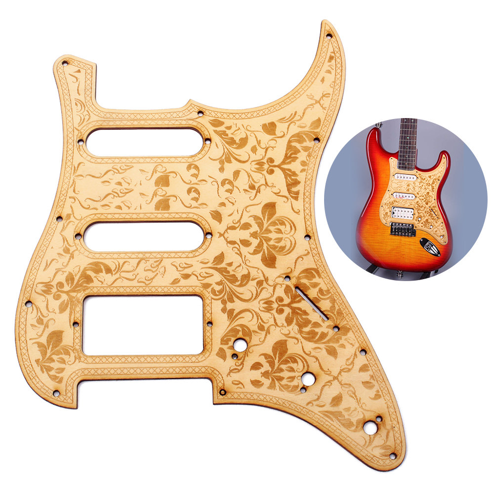 SSH Wooden Guitar Pickguard Maple Wood with Decorative Flower ...