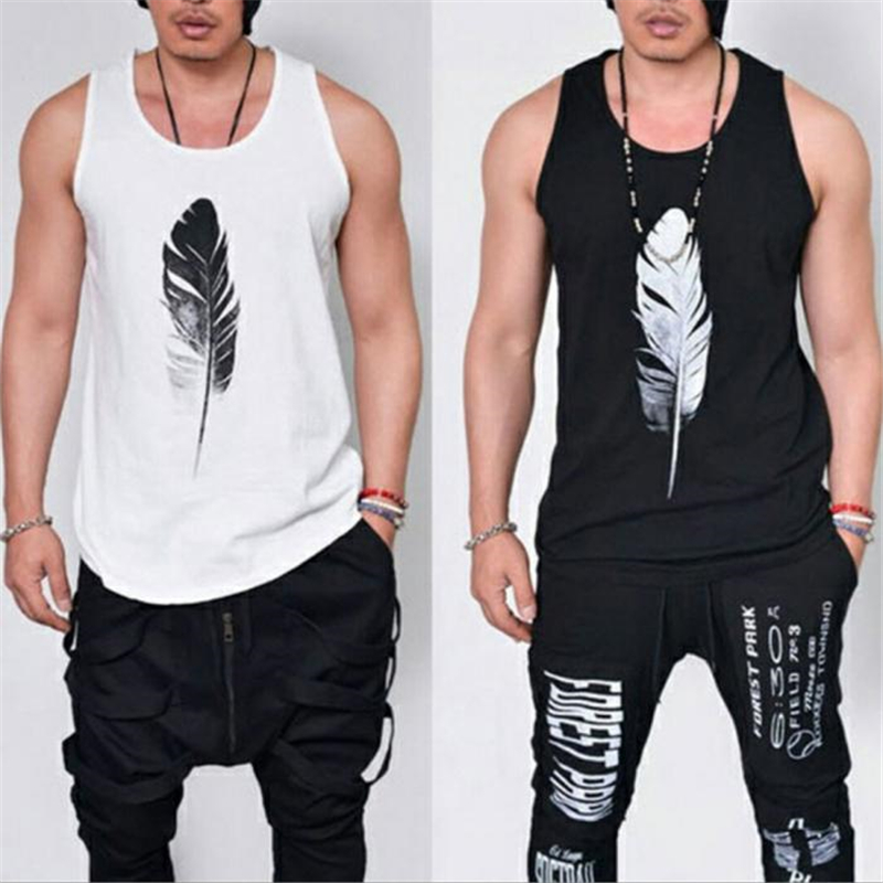 Fashion Men Sleeveless   Tank     Top   Casual Singlets Vest Feather Print Cotton Summer Tee   Tops   IK88