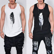 Fashion Men Sleeveless Tank Top Casual Singlets Vest Feather