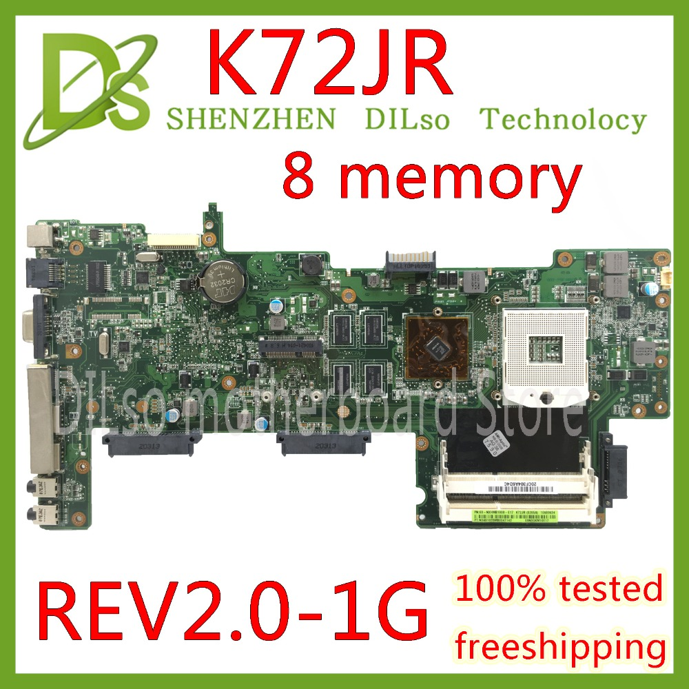 KEFU K72JR motherboard For Asus K72JT K72JK K72JU K72J X72J laptop motherboard REV 2.0 8 memory PM Test work 100% цена