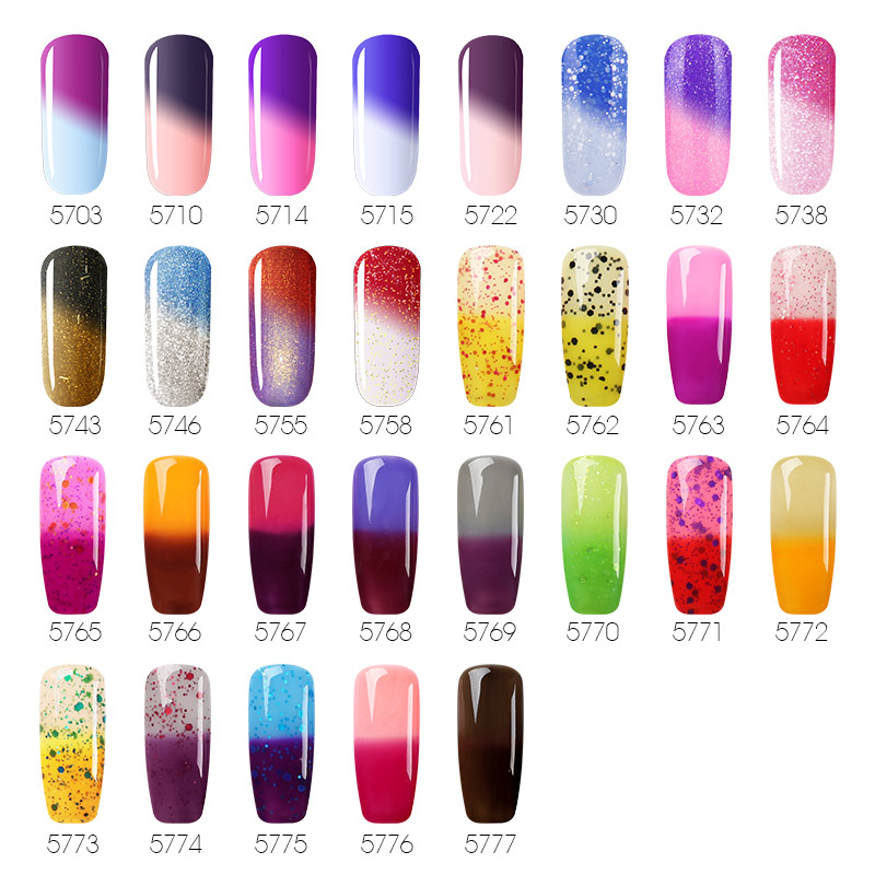 BUKAKI 29 Colors Shiny Temperature Change Nail Polish UV Gel Polish Semic Permanent Nail Liquid Chameleon Thermal Gel Lacquer