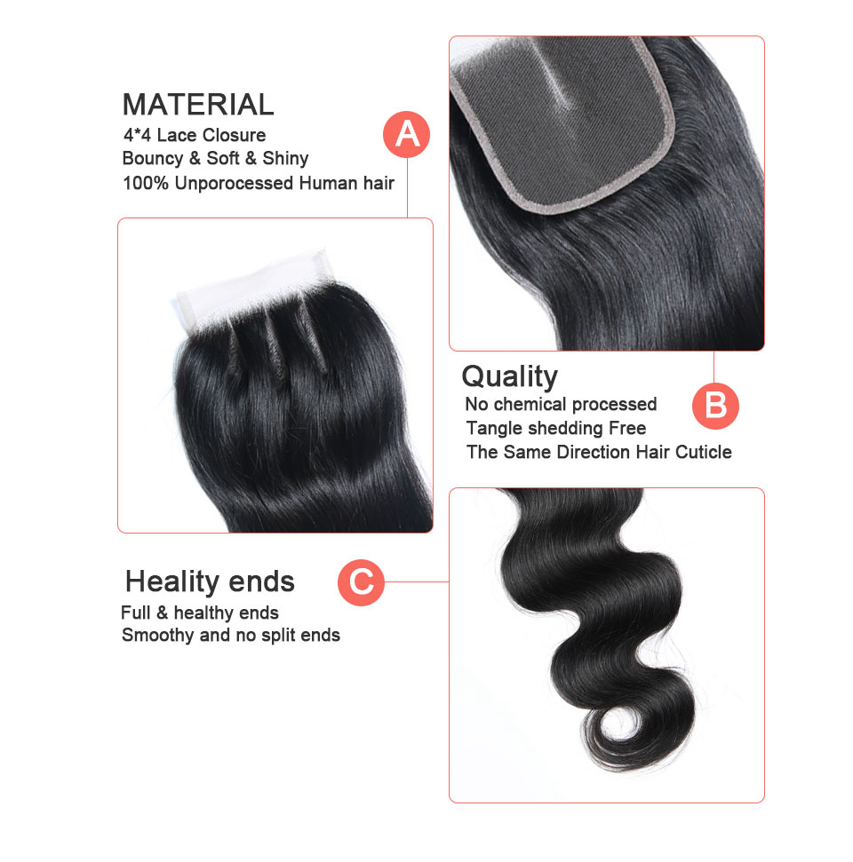 Brazilian Hair Body Wave 3 Bundles With Closure Human Hair weave bundles with frontal Lace Closure remy hair Extension BIGSOPHY (6)