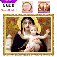 GGDB 5D DIY Diamond Painting Shiny Icons Virgin Madonna And Jesus Christianity Religion Wall Sticker HandCraft