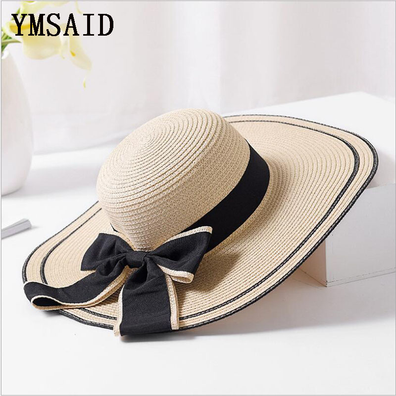 Ymsaid Summer Big Bowknot Straw Hats Foldable Beach Hats For Women Female Sunbonnet Ladies Vacation Large Wide Brimmed Sun Hats