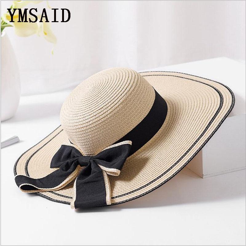 26dd431edbe19 Ymsaid Summer Big bowknot Straw Hats Foldable Beach Hats for Women Female  Sunbonnet Ladies Vacation Large