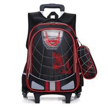 Wasserdichte Wheeles Taschen Schule Jungen 2017 Abnehmbare Trolley Rucksack Schule Kinder Große Kapazität Buch Taschen Reisegepäck-taschen