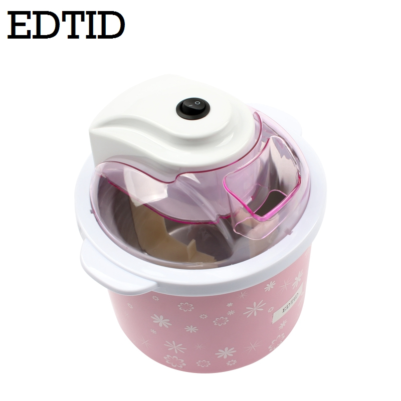 EDTID 1.5L Electric Mini Ice Cream Maker with Transparent Cover for Home Kitchen to Prepare Soft and Frozen Fruit Dessert and Ice Cream 2