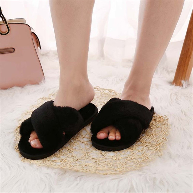 COOTELILI Winter Women Home Slippers with Faux Fur Fashion Warm Shoes Woman Slip on Flats Female Slides Black Pink Plus Size 41 4