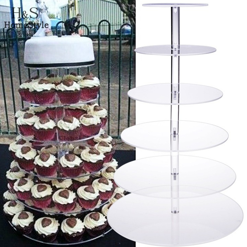 HomDox 6 Tiers Cake Stand Fondant Cake Rack Crystal Cupcake Plate Christmas Baking <font><b>Tool</b></font> For Wedding Party confeitaria US N10*