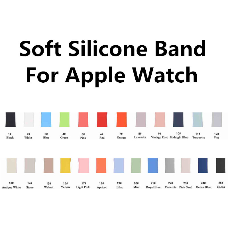 Colorful Soft Silicone Replacement Sport Band For 38mm Apple Watch Series123 42mm Wrist Bracelet Strap For iWatch Sports Edition