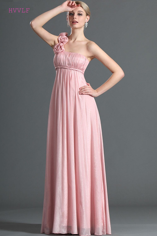 Pink 2019 Cheap   Bridesmaid     Dresses   Under 50 A-line One-shoulder Chiffon Flowers Long Wedding Party   Dresses