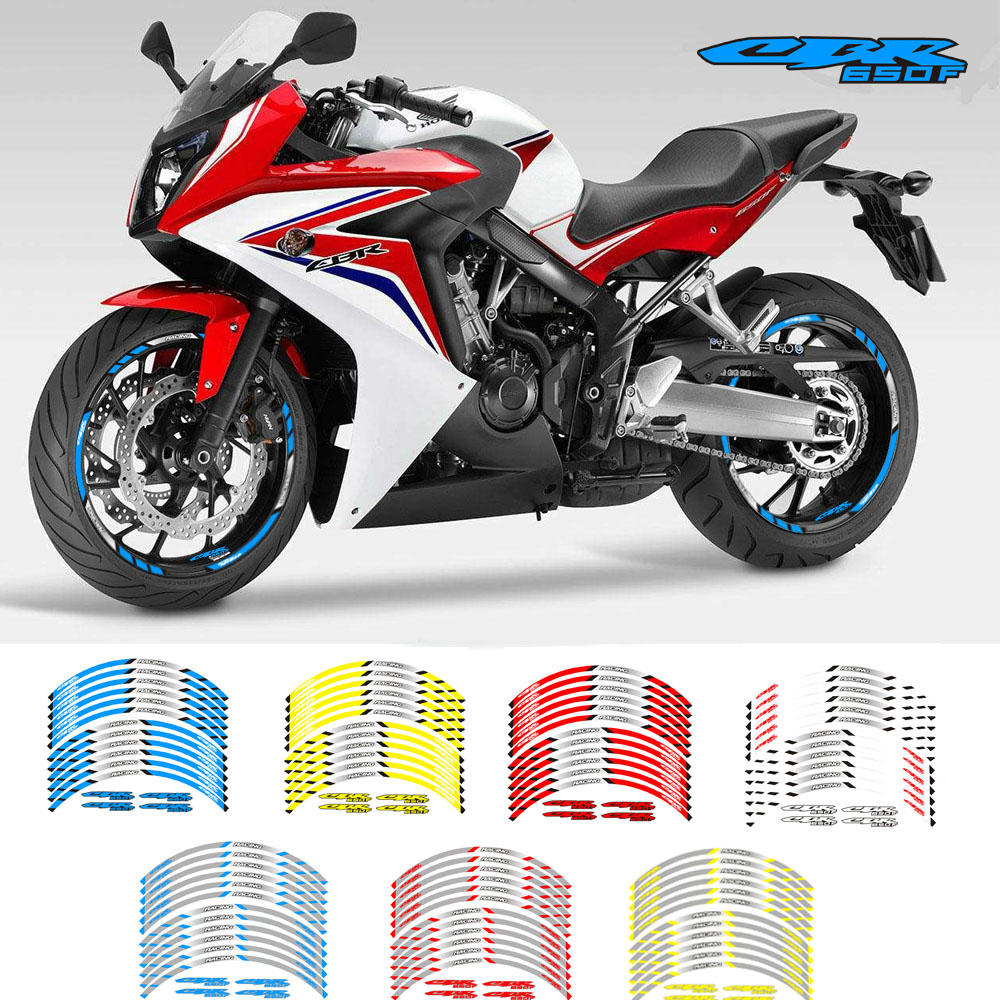 New Motorcycle wheel sticker 12Pcs Thick Edge Outer Rim Sticker Stripe Wheel Decals For Honda CBR650F|Decals & Stickers| |  - title=