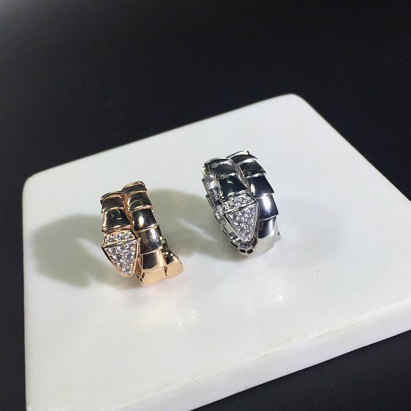 Marque 925 bijoux en argent pour femmes serpent tête anneau mode femmes or rose ajuster taille AAA qualité cubique zircon anneaux de mariage