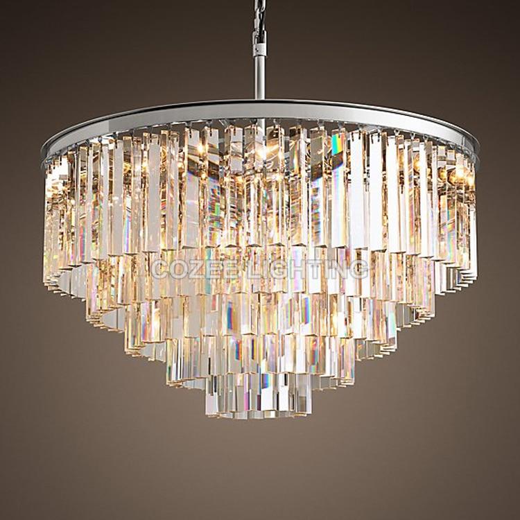 Vintage lustres LED Éclairage Moderne cristal Prisme Lustre Lumière lustres de cristal pour Salon Salle à manger Décor À La Maison