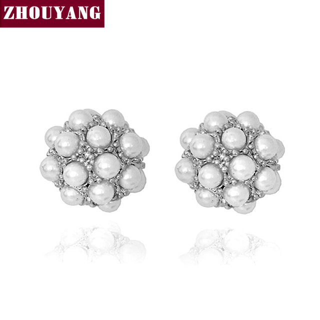 ZHOUYANG ZYE015 Imitation Pearl Ball Silver Color Stud Earrings Jewelry Made with Austrian Crystal Wholesale