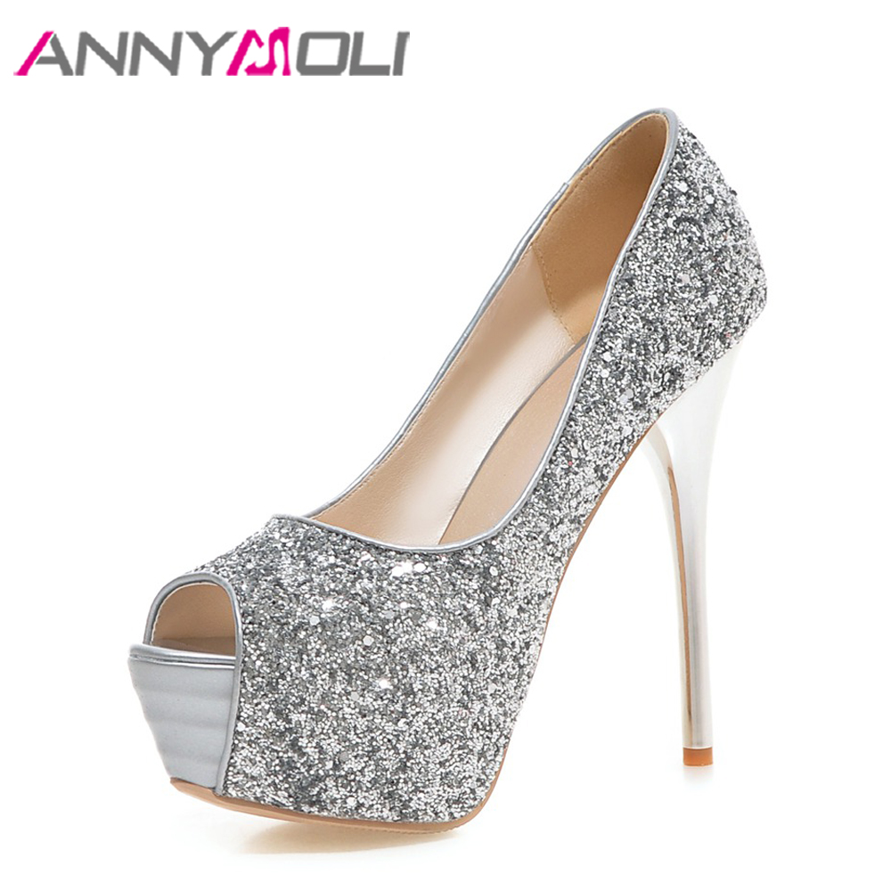 ANNYMOLI Women Pumps Platform High Heels 14cm Party Shoes Peep Toe Extreme High  Heels Glitter Red Bridal Wedding Shoes Sliver e764e55c0584