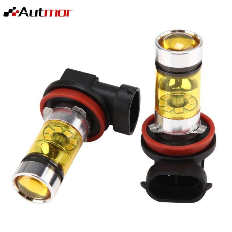 AUTMOR 2PCS Fog Light 12V 100W 1000LM Gold Light 4300K Automotive Lighting Car Replacement Parts Auto Accessories