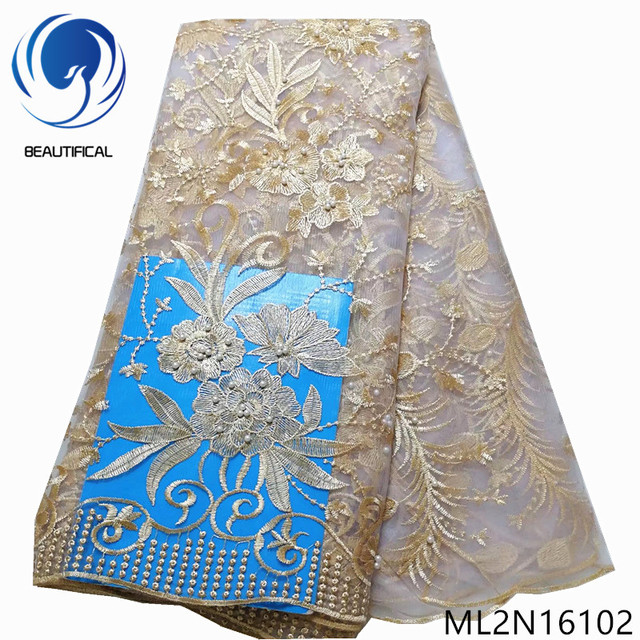 BEAUTIFICAL tulle lace party fabric african french rmboridery mesh 5 yards net lace nigerian ML2N161