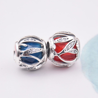 Top Quality Crystal Royal Red Blue Nature S Radiance Charm Fit Women Pandora Bracelet Bangle Authentic