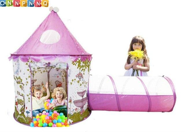 protable enfants jouet tentes b b princesse ch teau jouer tente avec tunnel et rose filles. Black Bedroom Furniture Sets. Home Design Ideas