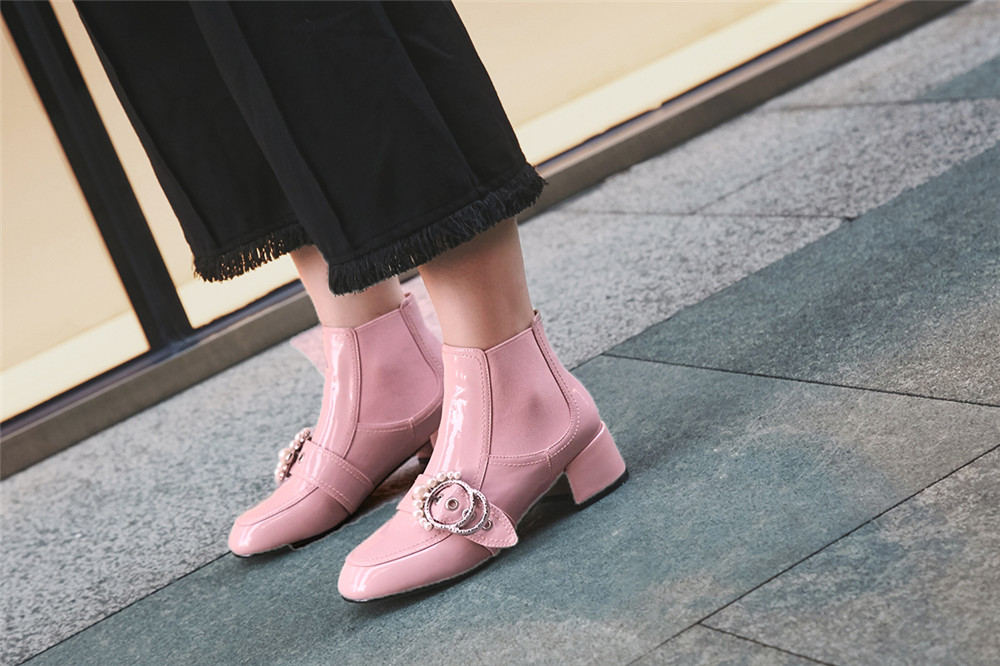 Short Mlxs02 Plush Negro Mujer Plush 34 Hebilla Zapatos pink Charol Rosa Con Pink Chelsea black on 40 Plush Punta No Perla Redonda Mujeres Botas Slip awBq04H1