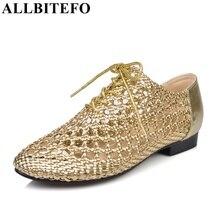 Allbitefo/Вырезами Мода натуральная кожа женские сандалии на плоской подошве пляжные сандалии Вьетнамки новинка 2016 летняя обувь sandalias femininas